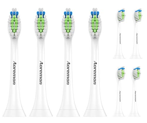 Replacement Brush Heads for Philips Sonicare DiamondClean, 2 Series, 3 Series, HealthyWhite, FlexCare, EasyClean Electric Toothbrush by Aoremon(8Count)