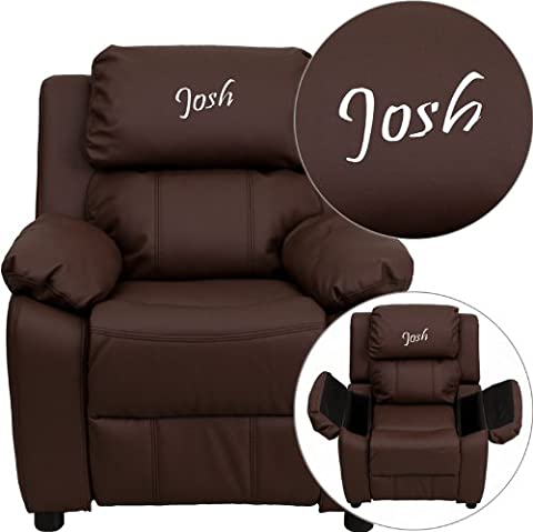 Flash Furniture Personalized Deluxe Heavily Padded Brown Leather Kids Recliner with Storage Arms (Chaise Purple)