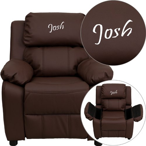 Personalized Deluxe Kid's Recliner Upholstery: Brown Leather ()
