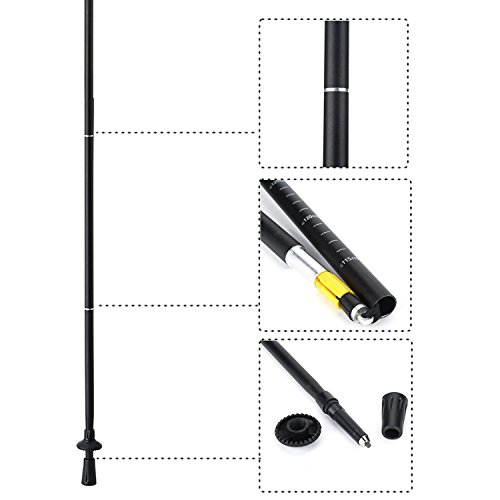 Yahill Folding Trekking Pole Collapsible Stick Ultralight Adjustable, Alpenstocks with EVA Foam Handle, for Travel Hiking Camping Climbing Backpacking Walking (Black&Green - 1pc)