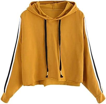 7da8cd18b3b Fuxitoggo Sudadera con Capucha de Manga Larga a Rayas para Mujer Sudadera  con Capucha (Color   Amarillo