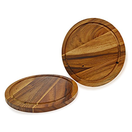 roro Acacia Wood Trivet or Charger with Groove, 10 Inch set of -