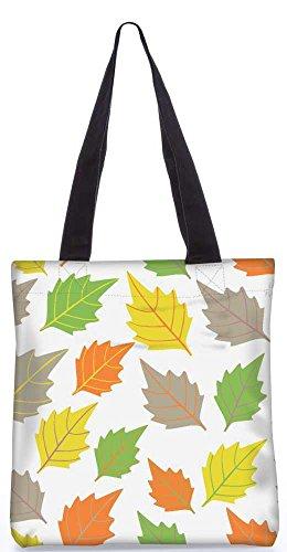 """Snoogg Bunte Blätter Weißes Muster-Einkaufstasche 13,5 X 15 In """"Einkaufstasche Dienstprogramm Trage Aus Polyester Leinwand"""