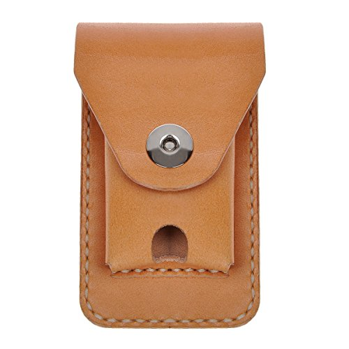 ZLYC Handmade Genuine Leather Cigarette Case Pouch Waist Belt Loop Cigarette Pack Box with Lighter Holder (Nude)