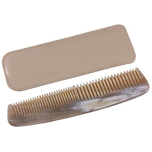 Dr Dittmar Horn Comb Coarse and Fine Teeth - Cream Leather Case by Dr. Dittmar by