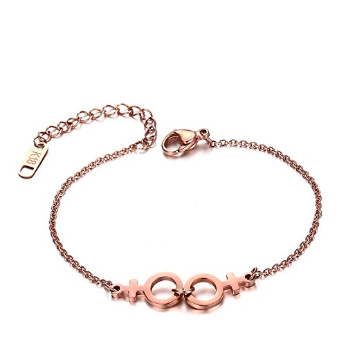 Waynes World Costume Girl (Lesbian Women Bracelet for LES Homosex LaLa Sisters Rose Gold Plating Bracelets)