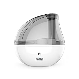 Pure Enrichment MistAire Silver Ultrasonic Cool Mist Humidifier - 1.5-Liter Water Tank, Whisper-Quiet Operation, Auto Safety Shut-Off and Night Light - Lasts Up to 25 Hours 2 ULTRASONIC COOL MIST TECHNOLOGY: Safely moisturizes the air for up to 25 hours of continuous operation so you can breathe easy and get more restful sleep. Ideal coverage for bedrooms, offices and other medium-sized rooms. IMPROVED FUNCTIONALITY: MistAire Silver includes the same premium components and functionality used throughout the MistAire line, but has been upgraded with sleep-friendly features like quieter beeps when the unit is turned on/off (great for sleeping babies) and a power light that automatically shuts off after 10 seconds (zero emitted light when the nightlight is off). 360-DEGREE MIST NOZZLE: Rotating nozzle makes it easy to adjust mist direction and high and low settings speed to fit your comfort level.