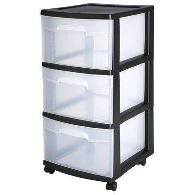 Sterilite 28309002 Black 3 Drawer Cart by STERILITE