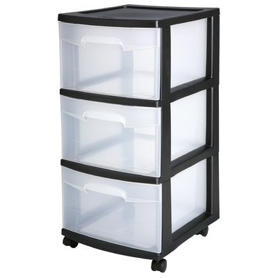 Sterilite 28309002 Black 3 Drawer Cart by STERILITE