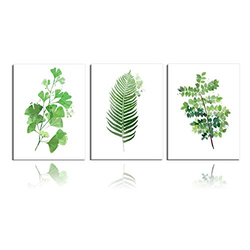 Green Leaf Photo - Meigan Art Canvas Wall Art Green Leaf Painting Picture Prints Canvas Artwork for Home Decoration (12X16InchX3)