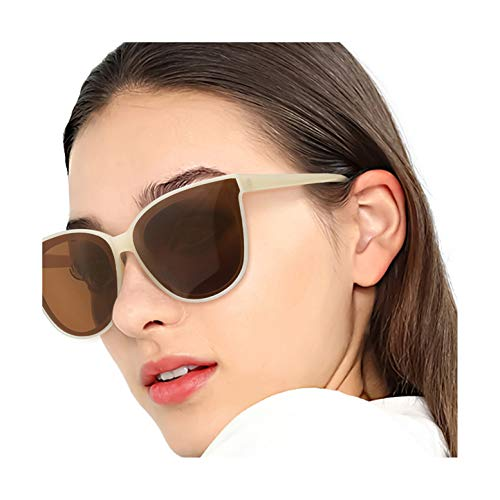 LVIOE Cat Eyes Sunglasses for Women, Polarized Oversized Fashion Vintage Eyewear for Driving Fishing - 100% UV Protection (Nude Frame/Brown Lens Cat Eyes Oversized, Brown)