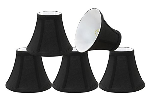 30034-5 Small Bell Shape Chandelier Clip-On Lamp Shade Set 5 Pack , Transitional Design in Black, 6 Bottom Width 3 x 6 x 5