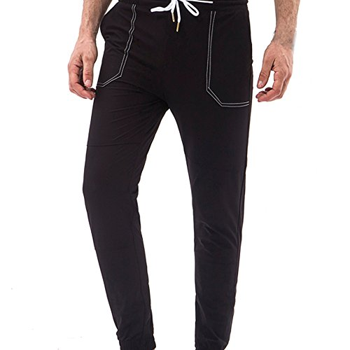 r Clearance,Men Pocket Overalls Casual Pocket Sport Work Casual Pants(XL,Black) (Checked Tie)
