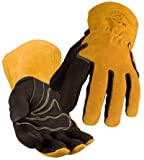 BSX Premium Grain Pigskin Cowhide Back MIG Welding Gloves, Size Medium