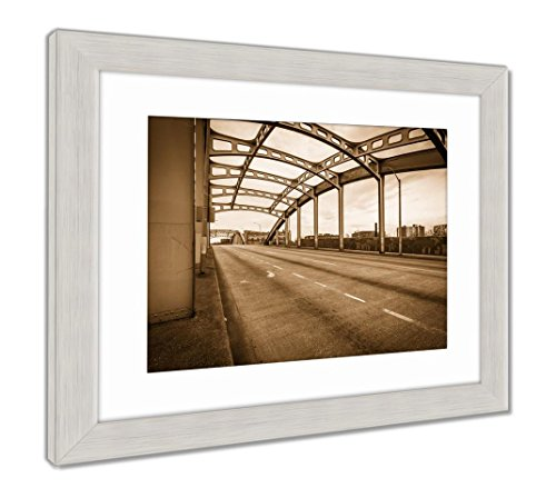 Ashley Framed Prints The Howard Street Bridge in Baltimore Maryland, Wall Art Home Decoration, Sepia, 34x40 (Frame Size), Silver Frame, AG6328564