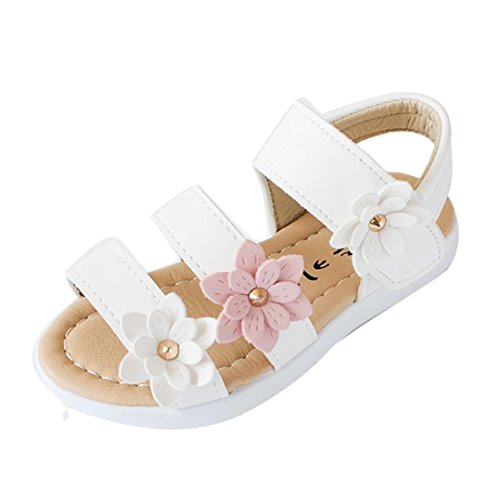 404f0f6bc69 Axinke Toddler Littler Girls Summer Casual Open Toe Flat Princess Sandals  Shoes with Flowers (White