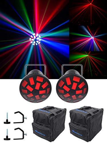 Led Chauvet Mushroom Light ((2) Chauvet DJ Mushroom Dance Floor Effect Party Beam Lights+Carry Bags+Clamps)