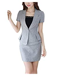 MFrannie Womens Classic One Button 2-Piece Office Lady Work Short Sleeve Suit Set