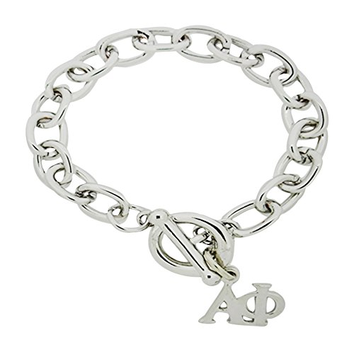 Horizontal Alpha Phi Greek Sorority Trendy Rolo Bracelet with Toggle Clasp Closure High Polish Finished Silver Plated (6.5 Inches)