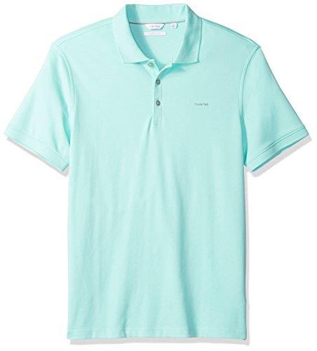 Calvin Klein Men's Short Sleeve Cotton Polo, Beach Glass, M ()
