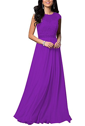 tutu.vivi Women's A Line Lace Wedding Bridesmaid Dresses 2018 Long Beaded Chiffon Evening Gowns Purple Size18W