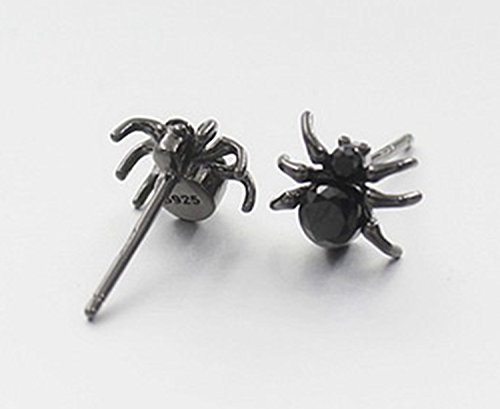 Minimalist 925 Sterling Silver Stud Earrings Punk Black Spider Stud Earrings 1 pair