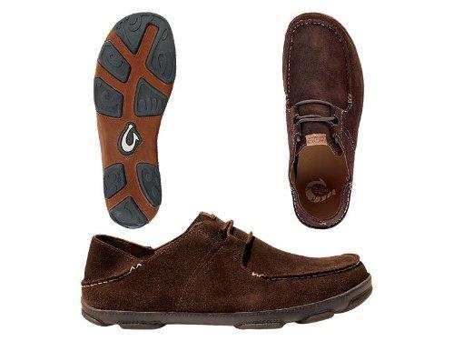 OLUKAI Men's Ohana Lace-up Nubuck Moc Toe Shoe