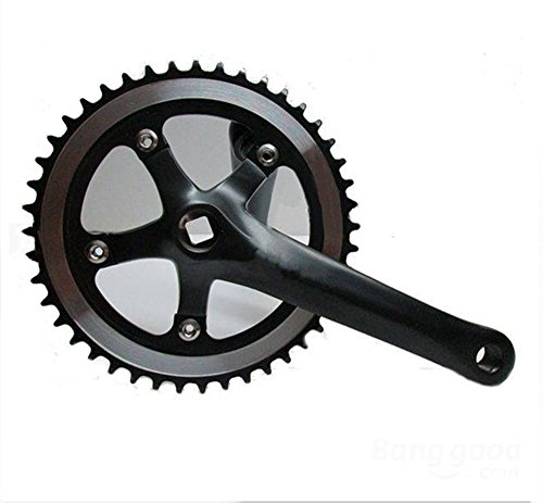 46t Single Speed Fixed Gear Track Road Bicycle Bike Chainring Crankset (Black)