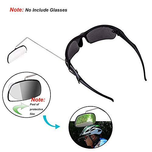 Bike Eye Glasses Rearview Mirror, 1Pcs Lightweight Biking Winter Mirrors Clear Mountain Bicycle Helmet Rear Mirrors for Cycling, Hiking, Bike Accessories, Black and ()