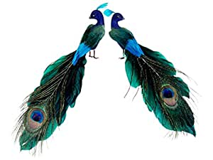 """Set of 2 Regal Peacock Feathered Peacock Christmas Ornaments 1.25"""""""