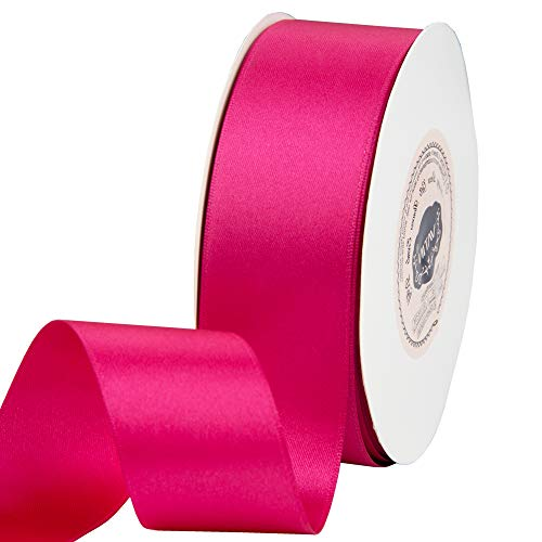 VATIN 1-1/2 inch Wide Double Face Solid Satin Ribbon Roll - 50-Yards (Hot ()