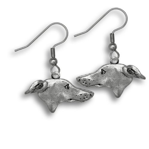 Pewter Greyhound Earrings by The Magic Zoo