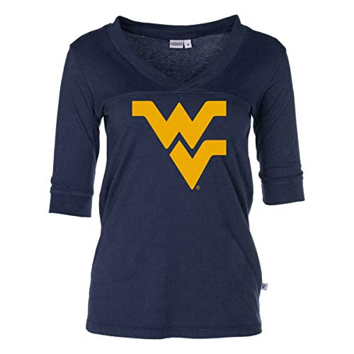 Official NCAA West Virginia Mountaineers - Women's 3/4 Football V-Neck Tee ()