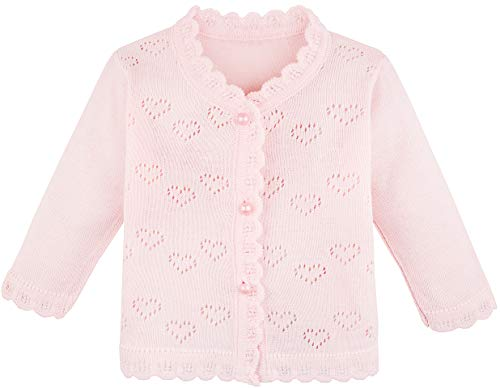 Lilax Baby Girls' Little Hearts Knit Cardigan Sweater 12M Pink