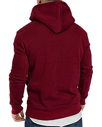 Capuche Sweats Hoodies A Taille Sweat Hoodie shirt Chandail Sweat Longues Shirt Vin Rouge Grande Basique Chaud Sweatshirt Sport Pull Oversize Large Manches Uni Hiver Shirts Homme À OTYwxYq85