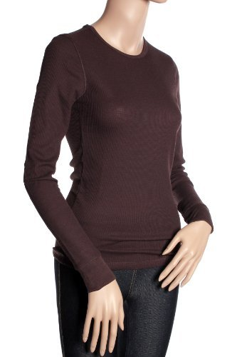 Active Basic Women's Plain Basic Round Crew Neck Thermal Long Sleeves T Shirt Top (Small, Brown)