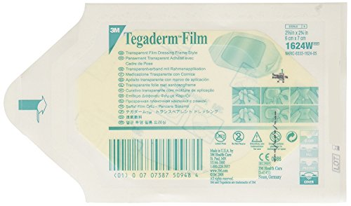 3M 1624W Tegaderm Transparent Film Dressing Frame Style (Pack of 400) by 3M