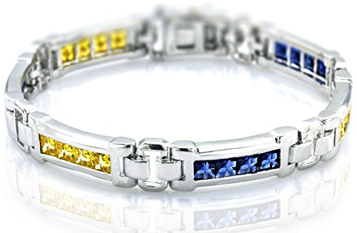 Men's Sterling Silver .925 Original Design Bracelet with 20 Fancy Color Canary Yellow and Azure Blue Cubic Zirconia (CZ) Stones and Box Lock, Platinum Plated 8