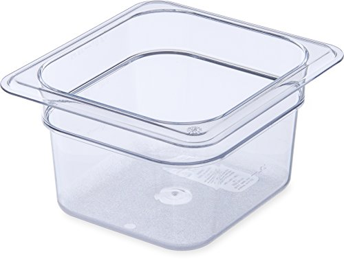 Carlisle (3068407) StorPlus Food Pans, Set of 6 (1/6 Size, 1.7-Quart, 4-Inch Deep, Polycarbonate, Clear, ()