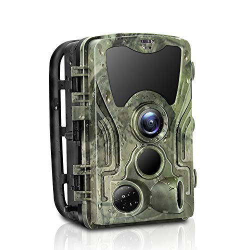 Micoke Trail Game Camera 16MP 1080P IP65 Waterproof Hunting Scouting Camera 0.3sTrigger Time 3 IR Sensors up to 25m/85ft with 120°Detecting Range Motion Night Vision Wildlife Hunting and Home Security