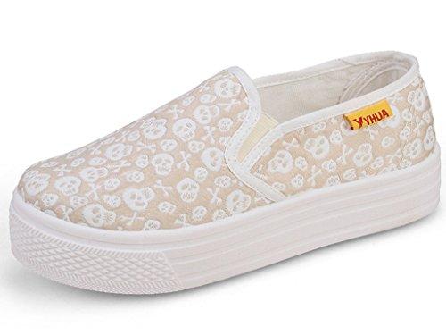Sunrolan Cherry Womens Canvas Slip Op Sneakers Hoge Platform Loafer Schoenen Poeder Bladerdeeg