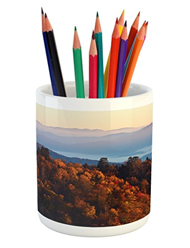 Ambesonne National Parks Pencil Pen Holder, Sunrise at the Mountains Pine Trees Covered on Hill Mist South Carolina, Printed Ceramic Pencil Pen Holder for Desk Office Accessory, (Carolina Student Desk)