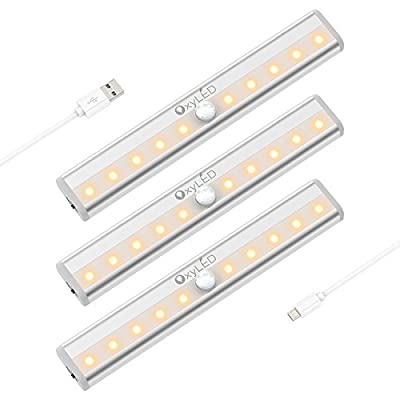 OxyLED Motion Sensor Closet Lights, Cabinet Light, Stick-on Cordless 10 LED Wardrobe/Stairs/Step Light Bar,L ED Night Light, Safe Lights with Magnetic Strip, 3 Pack, Battery Operated