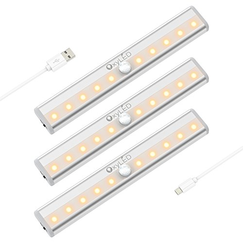 OxyLED USB Rechargeble Motion Sensor Closet Lights Under Cabinet Lightening, Stick-on Cordless 10 LED Night Light Bar, Indoor Step Light Safe Lights for Cabinet Wardrobe Stairs, 3 Pack, Warm White