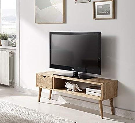 Tavolino Per Tv.Hogar24 Tavolino Per Televisore Mobile Da Salotto Motivo Vintage Con Cassetto E Mensola In Legno Massello Naturale Fabbricazione