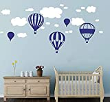 Beautiful Hot Air Balloons Clouds Wall Stickers Boys And Girls Nursery Baby Room Wall Vinyl Decor Kids Bedroom Decoration