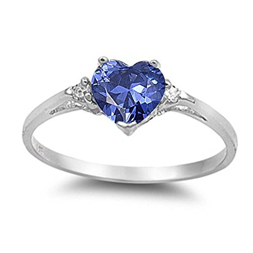 Wedding Engagement Heart Promise Ring Simulated Blue Tanzanite Round CZ 925 Sterling - Silver Tanzanite Rings