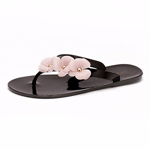 women's shoes slippers Korean cold foot LIUXINDA British flowers fashion slippers flat XZ version slippers Black flops Summer flip zzqXRC