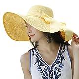 FEDULK Womens Big Bowknot Brim Straw Wide New Hat Floppy Roll up Beach Cap Sun Hat Folding Beach Cap(F, One Size)