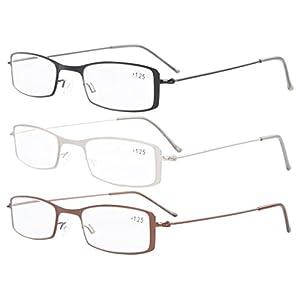 Eyekepper 3-Pack Stainless Steel Frame Half-eye Style Reading Glasses Readers +0.75
